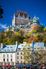 The Fairmont Chateau Frontenac and the historic buildings of Lower Town in Old Quebec, Quebec City, Quebec, Canada.
