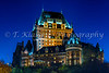 The Fairmont Chateau Frontenac from Lower Town, Quebec Old Town illuminated at night, Quebec City, Quebec, Canada.