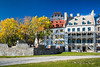 The Chateau Frontenac and the historic buildings of Lower Town in Old Quebec, Quebec City, Quebec, Canada.