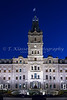 The Quebec National Assembly building illuminated at night in Quebec City, Quebec, Canada.