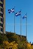 The National flag of Quebec flying in Quebec City, Quebec, Canada.