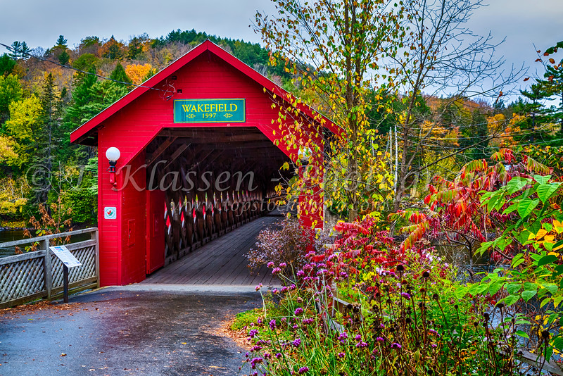 The covered bridge over the Gatineau River near Wakefield, Quebec, Canada.