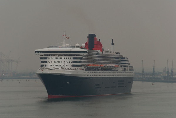 Queen Mary 2, leaving Southampton, Mon 2 June 2008 1 - 1734.  Here are six photos taken from Queen Elizabeth 2 of QM2 leaving the Mayflower terminal on a very murky day.  She was bound for New York; QE2 for Norway and Spitzbergen.