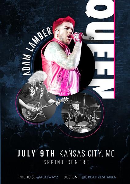 SHΛRKΛ  ☕ #TwoFux  @creativesharka Unofficial poster July 9th Kansas City, MO - Sprint Centre Thanks for pics @ALAlwayz #adamlambert @adamlambert #NorthAmericanSummerTour2017