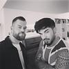 ~(˘▾˘~)  6/18  Soho House Berlin simon_jay_hiddinger Had some fun with @adamlambert today and pimp his hair a bit for the Berlin show tomorrow.
