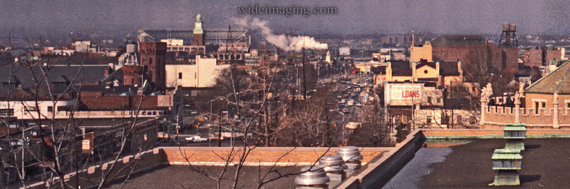 Northern Blvd from December 1973. Detail from: http://www.wideimaging.com/Queens/Flushing-Archives/3273609_SVoat#216244844_55oiv Shows Lums Chinese restaurant, Aqua Pet and Hobby Den, Bella Pizza, Robert Hall and HB Chevrolet. Behind Flushing High School is a Texaco Gas Station, Flushing Savings Bank, Sears, Town Hall and the RKO Keiths.
