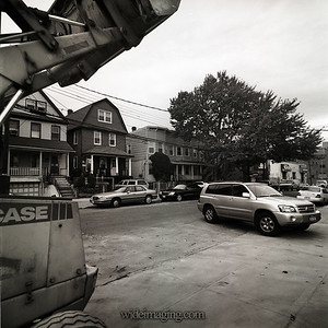 Farrington Street near 34th Ave. looking NW. Private homes and row houses, part of original Flushing circa 1920's on October 8, 2009.