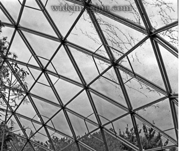 Geodesic dome structure formerly the World's Fair Churchill pavilion relocated serving as a netted aviary, from October 1989.