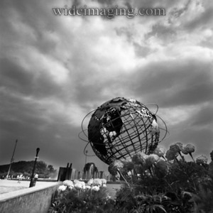 Unisphere with fountains running, July 2001.