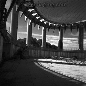 Interior view of New York State Pavilion, taken on June 29, 2007. I had to sneek in to take these shots as the entire pavilion has been fenced off and in such a state of disrepair that it is deemed unsafe for the general public.