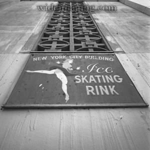 Ice skating rink sign on the former New York City Pavilion, from July 2001.