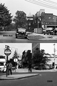 89th Avenue and 139th Street comparison of 1943 to 2009, shows the Super 8 Motel was built on a Shell gas station.