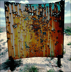 A rusted rifle range target still stands in this July 1974 photo from Fort Tilden.