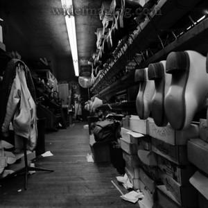 The Klingbeil Shoe Lab skate boot racks, from October 2004.
