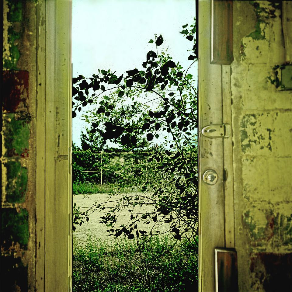 Door nailed shut, Fort Tilden barracks July 1974.