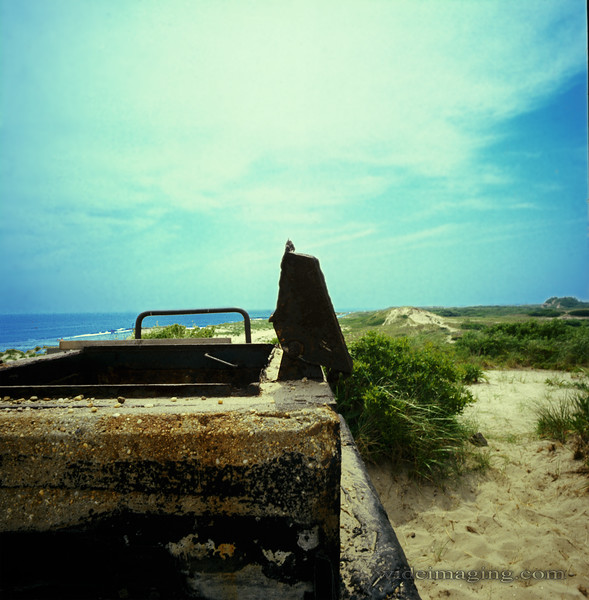 Fort Tilden unidentified bunker hatchway on the beach, July 1974.