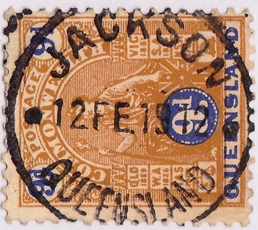 "Status ebay <br /> Queensland : 1912 RARE JACKSON Postmark on 9d.<br /> <br /> Postmark: ""JACKSON/12 FE 1912/QUEENSLAND"" cds (RRRR??) comp strike on 1906 9d brown & blue."
