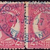 """Queensland Postmark : Mt Morgan double ring oval. RARE.<br /> <br /> Postmark: """"MOUNT MORGAN/27 SEP 07/QUEENSLAND""""<br /> <br /> double ring oval d/s near comp strike in blue on 1895 QV 2½d rose pr.<br /> <br /> Very rare."""
