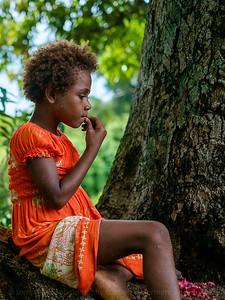 Vanuatu, Tanna, Enefa, Girl Eating Nut