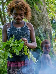 Vanuatu, Tanna, Middle Bush, Lounahuru, Girl with Island Cabbage