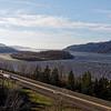 Looking at an island down the Columbia river at the Briadal Veil viewpoint