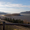 Looking down the Columbia river at an island