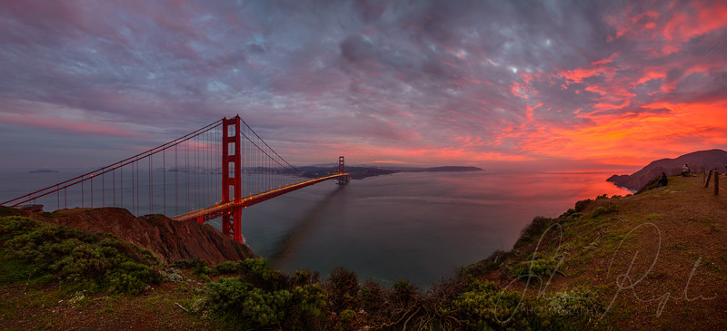 The bay in red