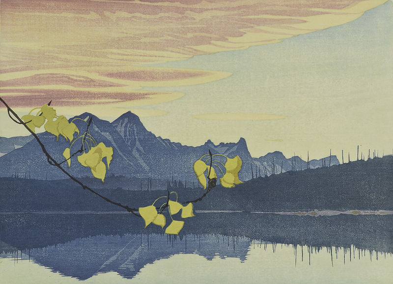 Walter J. Phillips, Leaf of Gold, 1941, colour woodcut on paper, 23.6 × 32.7 cm. Gift of the Artist.