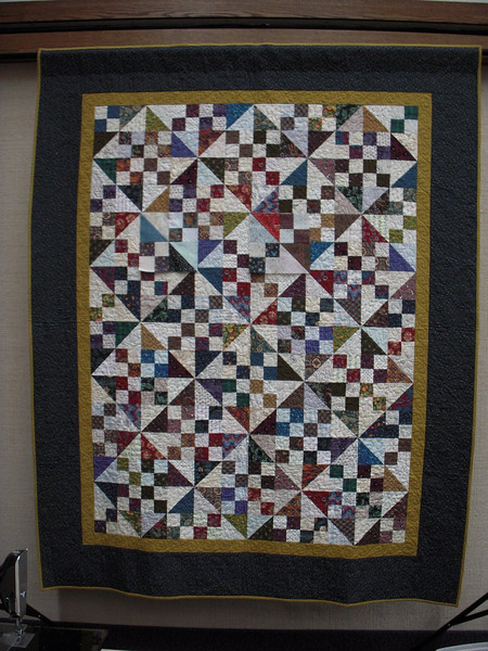 """6x8 layout for the Texas Two Step.  We cut the units out of strips of 5 1/2"""" x 20"""" we can make 2 half square triangles and 2 four patches with a pair of light and dark fabrics"""