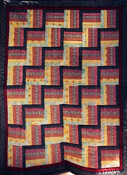 1995 Rail Fence Lap for West Houston Quilters Guild