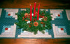 1989 Christmas table runner with candles.
