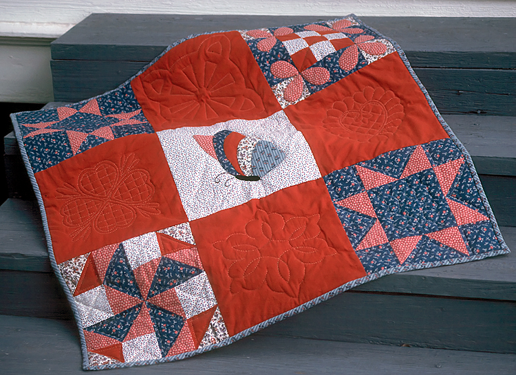 1984 Sampler wall hanging is the first quilt Pat made in beginning quilt class in Humble, Texas.