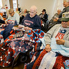 Veterans Edison Curry and John Ferguson receive Quilts of Valor during a small ceremony at the Golden Living Center on Friday afternoon. SENTINEL & ENTERPRISE / Ashley Green