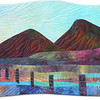 This small quilt represents the view from my front door. The two Spanish Peaks in Southern Colorado are called the Wahatoya. 2012 (private collection)