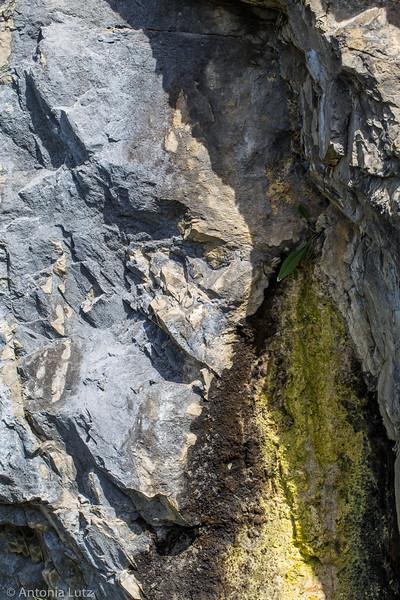 Farbige Felswand