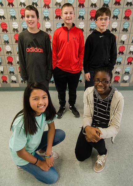 Samoset Middle School studentsAddison Watson, Ryan Soroka, Timothy Peznola, Katie Soon and Lois Nfor will be competing on the school's quiz team at MIT on Saturday, February 11. SENTINEL & ENTERPRISE / Ashley Green