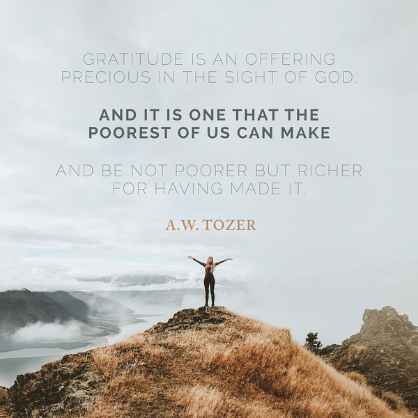A.W. Tozer on Gratitude