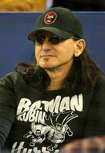 TORONTO - APRIL 6:  Geddy Lee, lead singer of Rush, looks on as the Toronto Blue Jays face the Detroit Tigers during their MLB game at the Rogers Centre April 6, 2009 in Toronto, Ontario.(Photo By Dave Sandford/Getty Images)