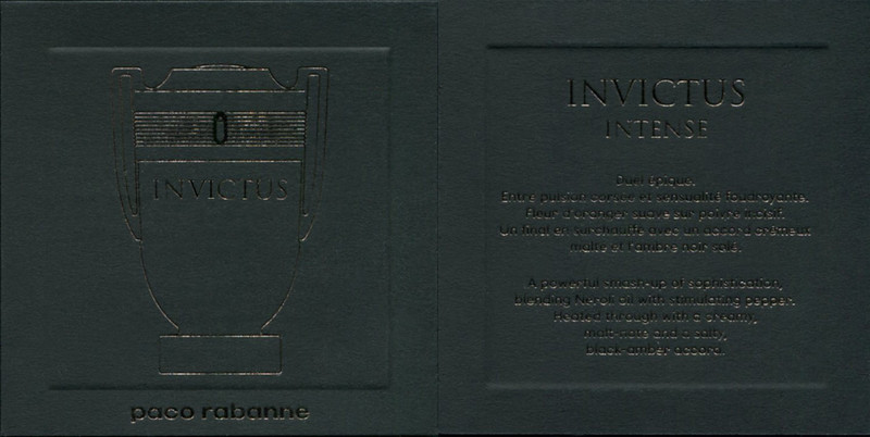 PACO RABANNE Invictus Intense 2017 recto-verso tester card 7 x 7 cm with bas'relief & golden inlay - Text in French & English