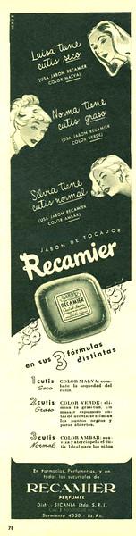 RECAMIER soap 1949 Argentina half page 'Jabón de tocador con sus 3 fórmulas distintas'