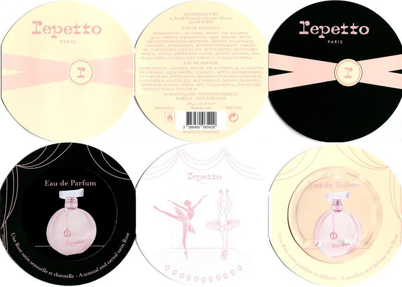 REPETTO Eau de Parfum - Eau de Toilette 2014 France (6-face circular foldout diameter 8,5 cm with 2 scent stickers)