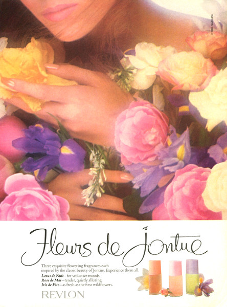 REVLON Fleurs de Jontue (Lotus de Nuit - Rose de Mai - Iris de Fête) 1985 Canada 'Three exquisite flowering fragrances each inspired by the classic beauty of Jontue'
