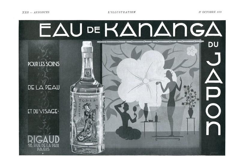 RIGAUD Eau de Kananga du Japon 1931 France (format 28 x 19 cm)