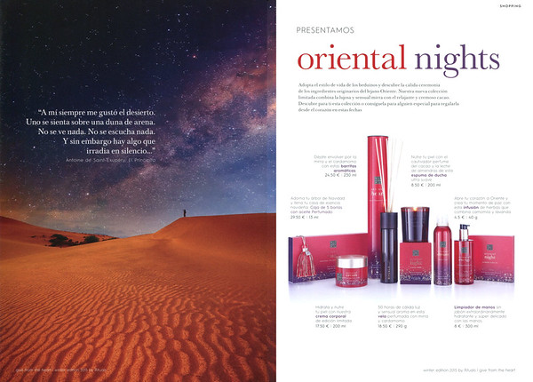 RITUALS Oriental Nights 2016 Spain spread (format 16,5 x 24 cm) 'Presentamos Oriental Nights'