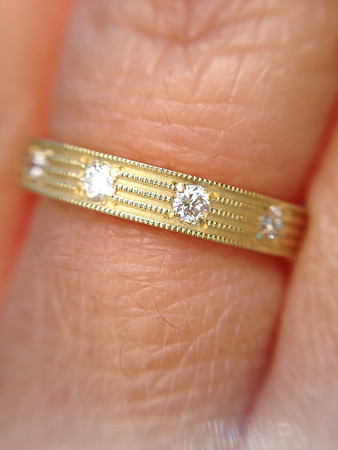 Sholdt Fern Finish Eternity Band R535BWD in 18k Yellow Gold