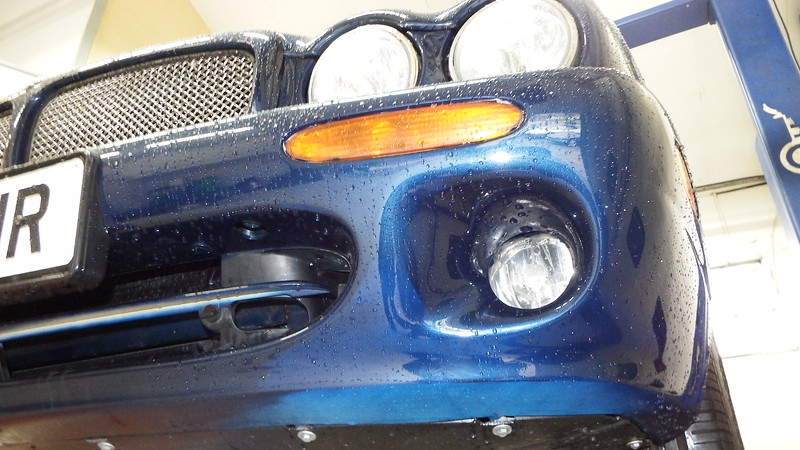 uneven paint lighter paint shade in patches, note underneath and around fog light
