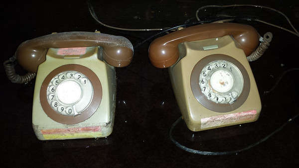 A pair of retro phones