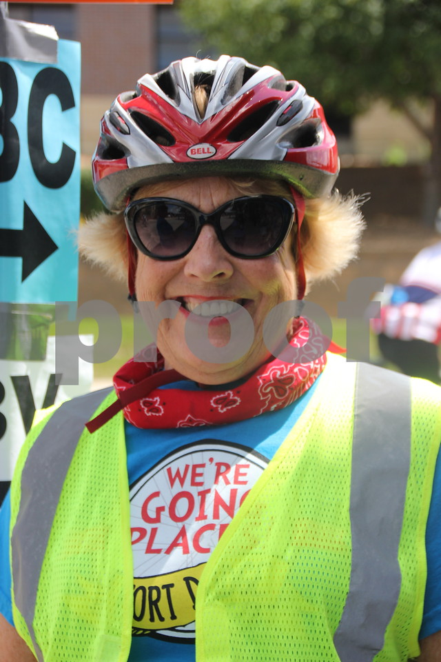 RAGBRAI came through the Fort Dodge area on Monday, July 20, 2015 for an overnight stay. Martha Bice  was one of several volunteers to help and provide service to the riders .