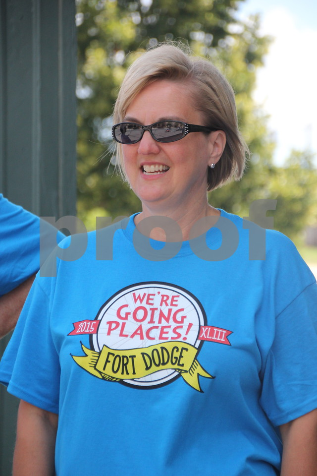 Jean Doyle  also volunteered to help out with RAGBRAI  when the riders rolled into Fort Dodge for their overnight stay in town on Monday, July 20, 2015. They own Doyle  Construction.