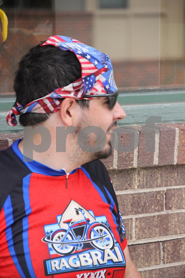 Riders in this years RAGBRAI event  come from all over to participate in the event  and Aaron Kirkpatrick from Nebraska is no exception. The riders  stopped in Fort Dodge for overnight on Monday, July 20, 2015.